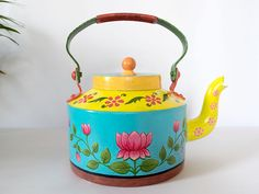Hand Painted Kettle Lotus Theme by cleverkrafts Price Rs Lotus Painting, Diy Painting, Painting On Wood, Pottery Painting Designs, Paint Designs, Mural Wall Art, Diy Wall Art, Painted Wooden Boxes, Hand Painted