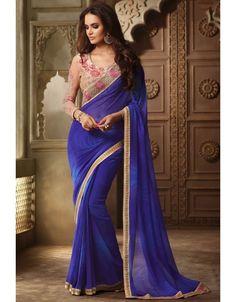 Iconic Indigo Blue Saree with #Designer #Blouse