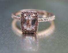 Cushion white sapphire in 14k rose gold
