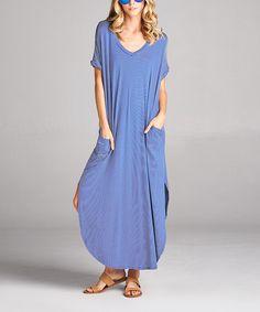 Love, Kuza Blue Pinstripe Pocket Maxi Dress | zulily