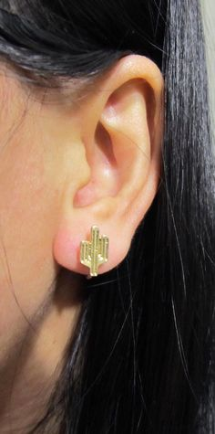Small Cactus Stud Clip on Earring C39s Invisible by boadNNcraft