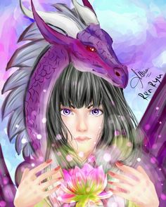 Check out my instagram ren.ryusan if you interesting and want to credit my art work. Soon i will open commission season. #illustration #artwork #semirealist #dragon #lotus #girl #renryu