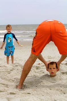 "Fun Beach Photo - ""I've Lost My Head"" - Buried Alive."