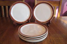 "Set Of Six Shenango China Restaurant Ware Plates ~ 9"" ~ Beige Brown ~ Excellent!"