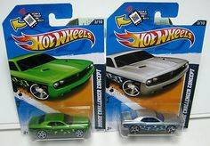 HOT WHEELS DODGE CHALLENGER CONCEPT  LOT OF 2 CARS  ADD THESE TO YOUR COLLECTION  1) BRIGHT METALLIC GREEN BLACK BASE 2012 HEAT FLEET  2) METALLIC SILVER BLACK BASE 2012 HEAT FLEET, $13.88