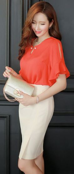 StyleOnme_Shirred Pencil Skirt #beige #pencil #skirt #elegant #pretty #formal #koreanfashion #chic