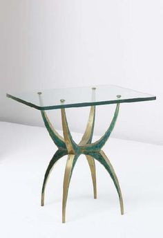 Pepe Mendoza; Brass, Glass and Painted Resin Side Table, 1960s.