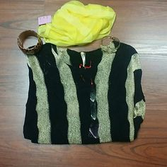 Sweater Black and gold sweater very light weight. Brand new. Sweaters