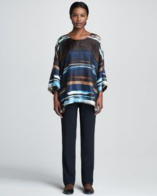 eskandar Abstract Striped Silk Tunic & Narrow Stretch Wool Trousers