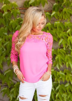Online boutique. Best outfits. Graced with Lace Hot Pink Top - Modern Vintage Boutique