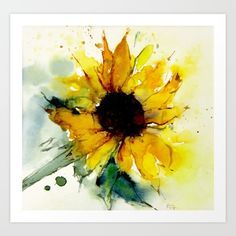 watercolor of a sunflower in summer colors and atmosphere