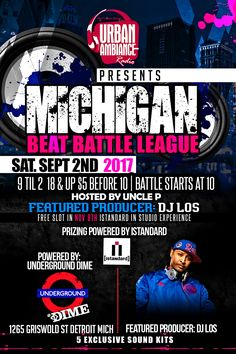 Top flyer designs of the day!!!! Michigan Beat Battle League Flyer Designed by graphixfly For more info please contact Web: www.graphixfly.com | Email: graphixfly@gmail.com Turn Around Time 1 day #graphixfly #Flyer #LoungeFlyer #ClubFlyer #TakeOver #Hiphop #rap #party #lounge #NightOutParty #LadiesNight #CocktailParty #BdayFlyer #NightClubs #OfficialParty #AfterParty #MixtapeParty #djs #AfterParty #HiphopMusic #R&B #BirthdayParty