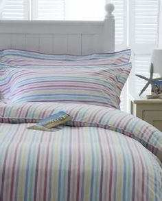 Pink Blue Yellow Lilac Green Candy Striped Duvet Cover Set.
