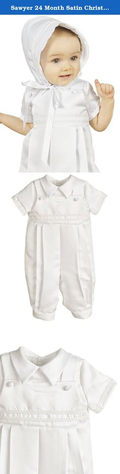 Sawyer 24 Month Satin Christening Baptism Blessing Outfits for Boys, Made in USA. Our smartly trimmed satin overall christening romper creates a dressy look for his special day.