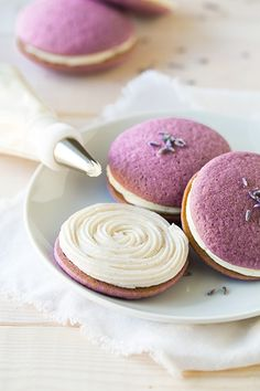 Lavender Whoopie Pies with Vanilla Bean Frosting