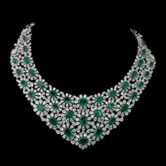 GABRIELLE'S AMAZING FANTASY CLOSET | Floral Emerald and Diamond Necklace