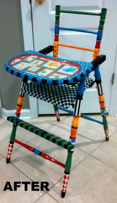After picture of my upcycled high chair