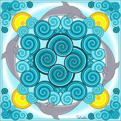 Print and color this dolphin mandala