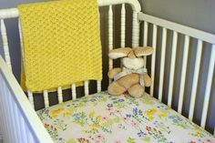 Vintage floral sheets turned into crib sheets.