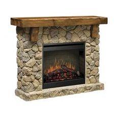 Fieldstone Electric Fireplace in Brown