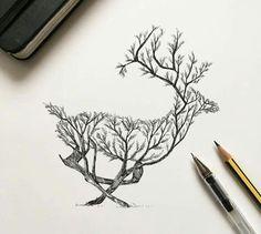 Ciervo árboles