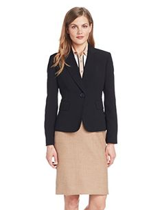 Kasper Women's 1 Button Peak Collar Crepe Suit Jacket