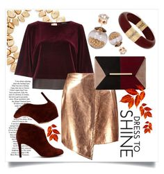 """""""Gold and Wine"""" by capricat ❤ liked on Polyvore featuring Sole Society, Saks Fifth Avenue, INC International Concepts, River Island, Boohoo and Dune"""