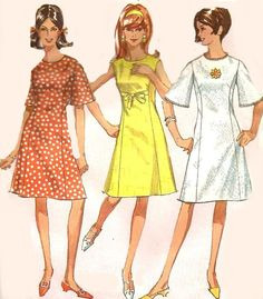 1960s Dress Pattern Princess Bell Sleeves Size 12 Bust 32 Inches