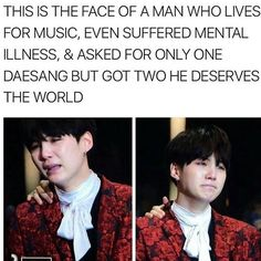 I'm just gonna leave it here. Oh:  And NO, it's not that I'm not supporting all the other members, I started crying when I saw Jin and I am respecting every single one of them for their efforts and passion! The thing here is that Yoongi never rly showed his emotions and that's why it's so moving to see that WE ARMYS made it. We made their dreams come true and I don't think there is a feeling better than this. I hope that in the following years everybody will treat them with respect. (G)