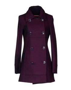 Fred mello Purple Double-Breasted Wool Blend Coat