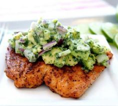 Salmon with avocado salsa is a delicious low-cholesterol recipe.