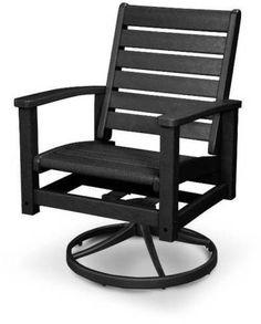 Polywood 1930-12BL Signature Swivel Rocker Chair Textured Black / Black Finish