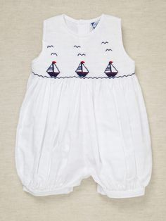 Boys Sailboat Smock Romper by Carriage Boutique on Gilt.com