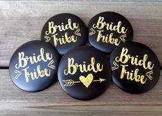 Bachelorette Party Buttons, Bride Tribe with FREE Bride Button, Black and Gold, Arrow