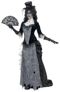 Women's Ghost Town Costume - Make a great impression at your next Halloween or costume party. The Womens Ghost Town Costume is eerie and edgy, and will really stand out. It includes a ragged skirt, top and hat for a monstrous look and feel. Made from 100% polyester, this costume is soft, comfortable and durable. Hand Wash.      Theme: Horror zombie vampire,     Age: 18 Years and Up     Textile Material: 100 % Polyester,