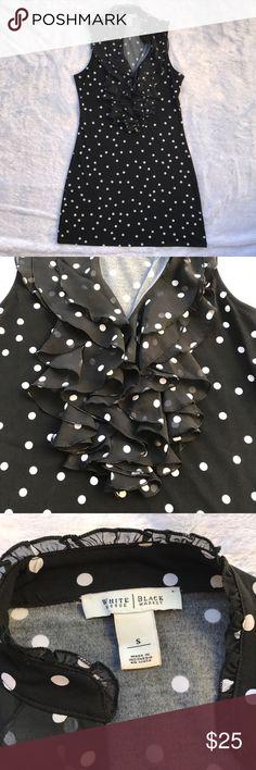 WHBM Polka Dot Ruffled Sleeveless Tunic Condition: Great Size: Small Colors: Black & white White House Black Market Tops Tunics
