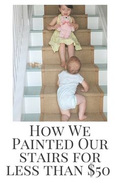Frustrated with the boring beige carpet on our stairs, I ripped it up in a fit of madness. Believe it or not, I used a $5 sample quart of paint to transform them!