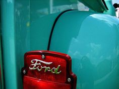 red & turquoise Ford