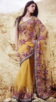 Adorable Gold Color Embroidered Saree