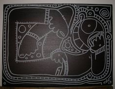 "Title : ""TrankiL""  Medium : Acrylics and Posca pen on Canvas  Year : 2007  Size : 300 x 250 mm"