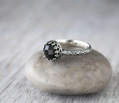 Rose cut Onyx Cabochon Ring with a Sterling Silver Band is hand forged and set in a beautiful Sterling silver crown bezel. - 8mm Rosecut Onyx