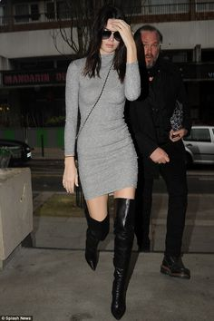 Hitting the town: Kendall Jenner was spotted donning thigh-high black leather boots as she...