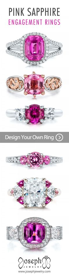 Design your own pink sapphire engagement ring! Sapphires are one of the best choices for the center gem in an engagement ring, and they can be found in almost every color shade and hue. They can be mined or lab grown, as well. Tap to browse more custom sapphire engagement rings!