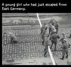 Young girl who had just escaped from east Germany