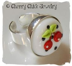 Cherry Lampwork Ring~White Background~ SOLD