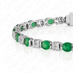 7.15 Carat Natural Emerald and Diamond Bracelet in 18K White Gold | Colored Diamonds and Emeralds at Diamond Envy