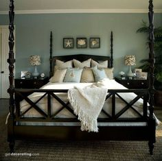 bedroom with aqua walls - Google Search