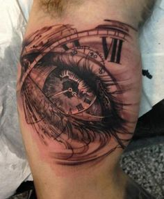 Eye Clock Tattoo On Muscles