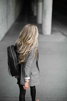 street style, fall fashion, blazer, leather backpack, blonde hair