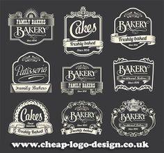 retro style cake and bakery labels and logo ideas www.cheap-logo-design.co.uk #cakelogo #bakerylogo #bakinglabels